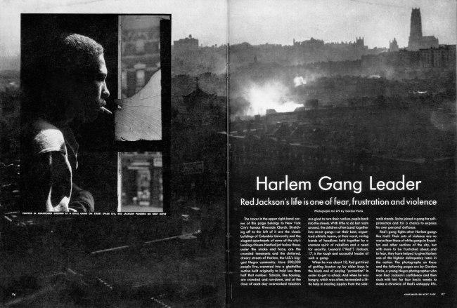 "The opening spread of ""Harlem Gang Leader,"" Life, November 1, 1948"