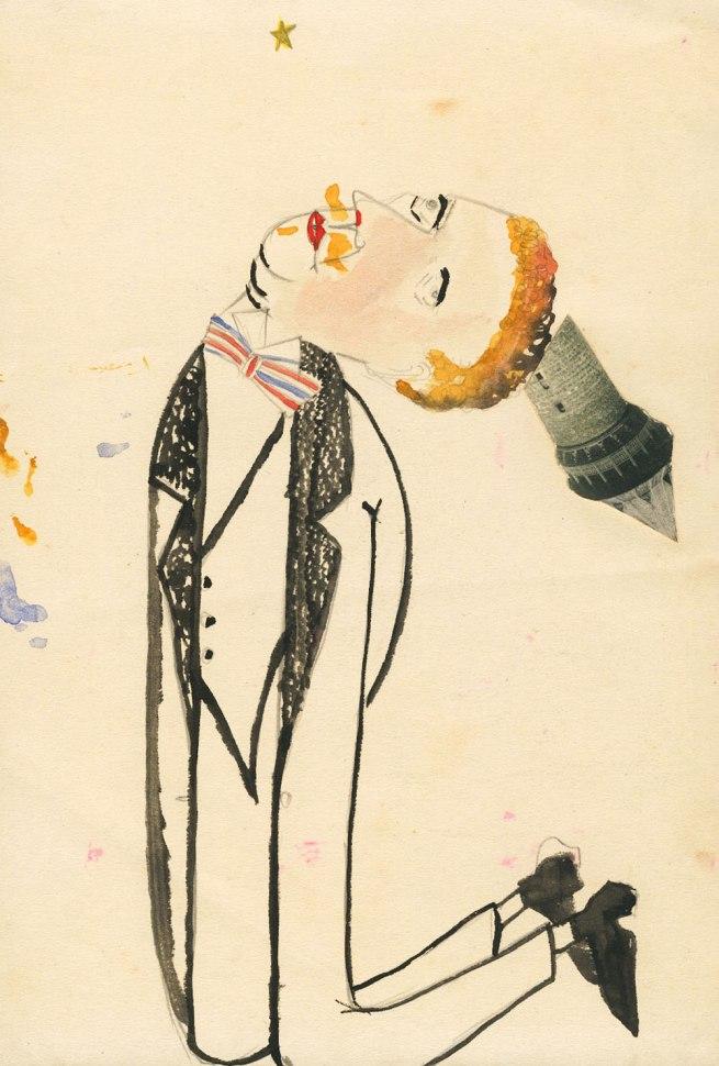 Erwin Blumenfeld. 'Untitled [Homme agenouillé avec tour]' [Kneeling man with tower] 1920