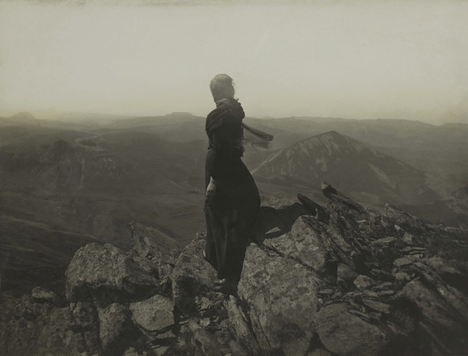Félix Thiollier (1842-1914). 'Figure contemplating the mountains of Menzenc (Emma Thiollier, daughter of the photographer)' 1895-1905