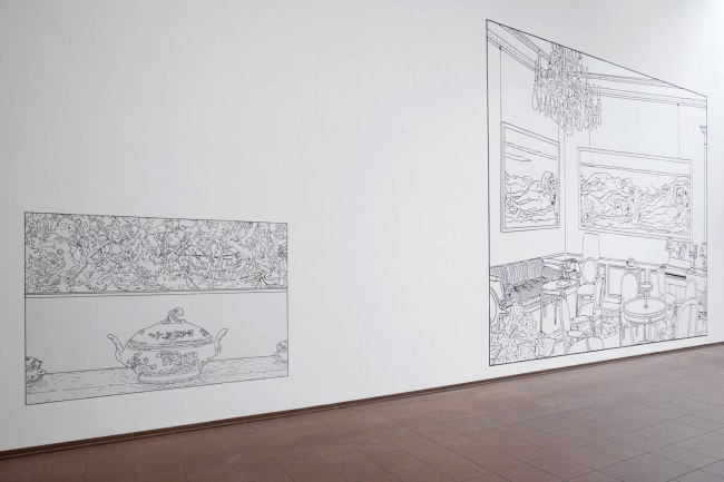 Louise Lawler. 'Pollock and Tureen (traced)' 1984/2013; Louise Lawler. 'Salon Hodler (traced)' 1992/1993/2013