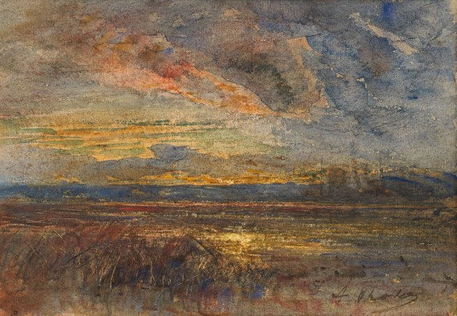 Francois-Auguste Ravier. 'A Marsh at Sunset' Nd