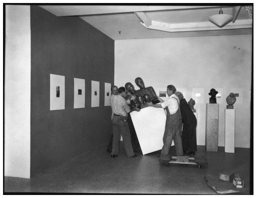"Installation view of ""Walker Evans American Photographs"" at the Museum of Modern Art, New York City, 1938"
