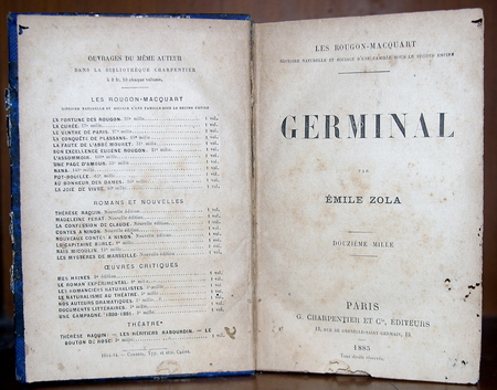 Émile Zola. 'Germinal' Title page of the 1885 edition