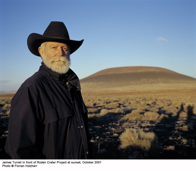 James Turrell in front of Roden Crater Project at sunset, October 2001
