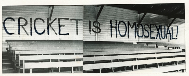 Anonymous. 'Untitled [Cricket is homosexual]' Melbourne, c. 1971 - 1973