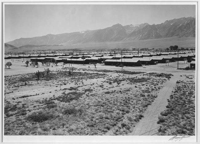 Ansel Adams (American, 1902-1984) 'Manzanar from guard tower, summer heat, view SW, Manzanar Relocation Center' 1943