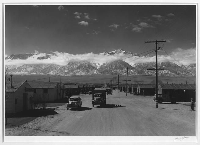 Ansel Adams (American, 1902-1984) 'Manzanar street scene, spring, Manzanar Relocation Center' 1943