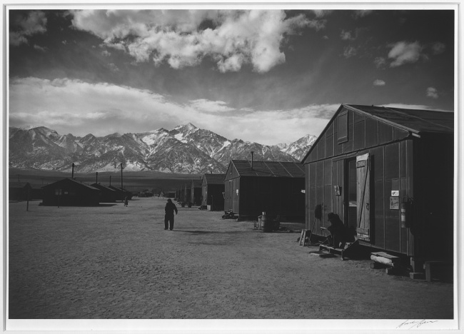 Ansel Adams (American, 1902-1984) 'Manzanar street scene, winter, Manzanar Relocation Center' 1943