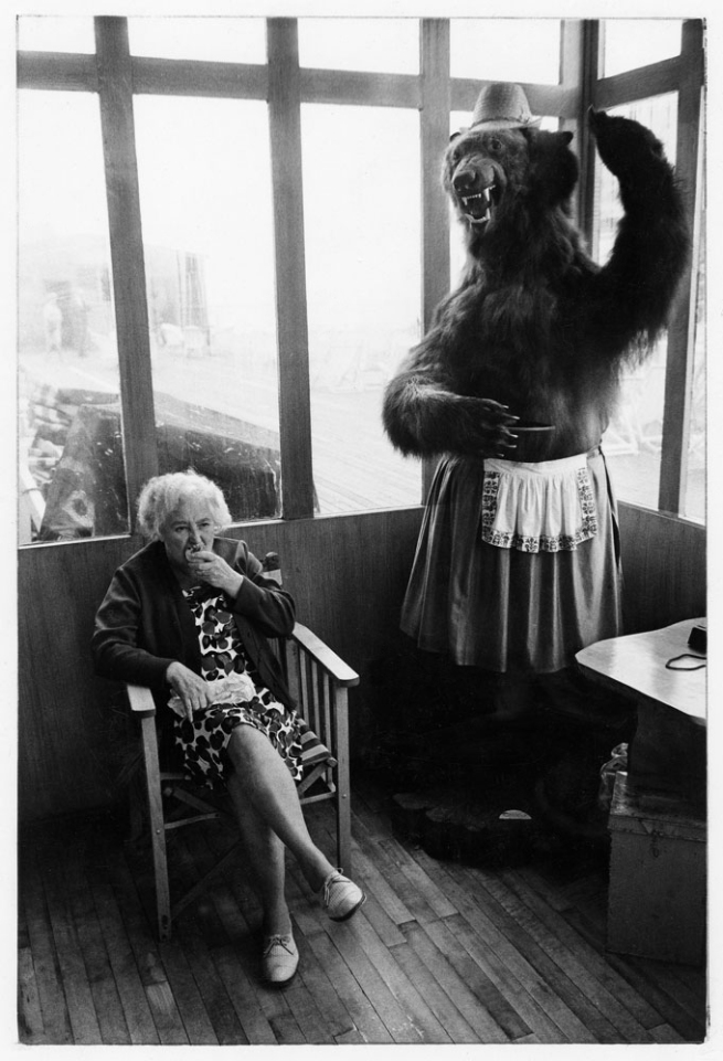 Tony Ray-Jones. 'Elderly woman eating pie seated in a pier shelter next to a stuffed bear, 1969' 1969