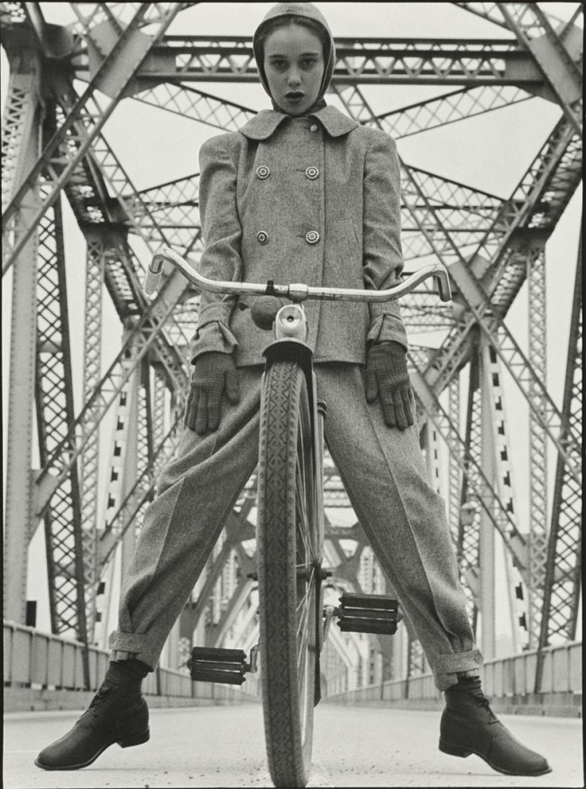 Hermann Landshoff. 'Model Beth Wilson at Rip Van Winkle Bridge spanning the Hudson River, New York 1946' 1946