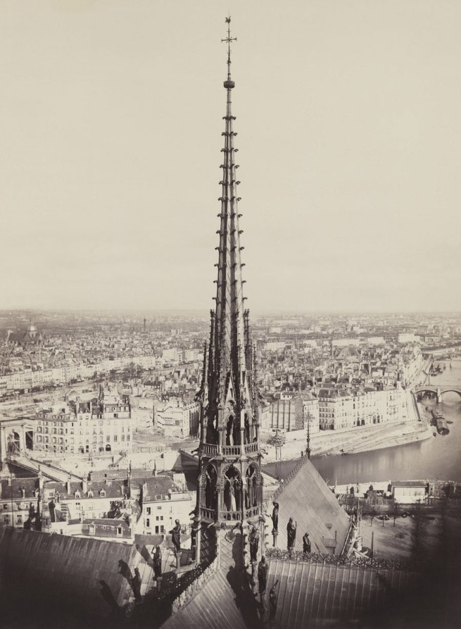 Charles Marville (French, 1813-1879) 'Spire of Notre Dame, Viollet-le-Duc, Architect' 1859-60