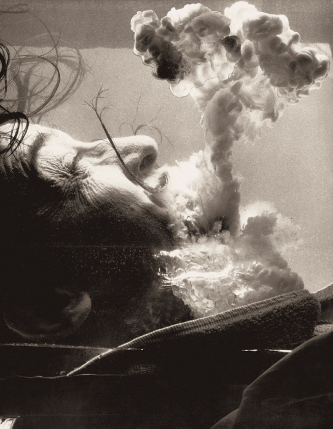 """Philippe Halsman. 'Épreuve préparatoire pour """"Certainement. Je m'adonne personnellement à des explosions atomiques,"""" Dalí's Mustache (Test event for """"Certainly. I personally engaged in atomic explosions,"""" Dalí's Mustache)' 1953-1954"""