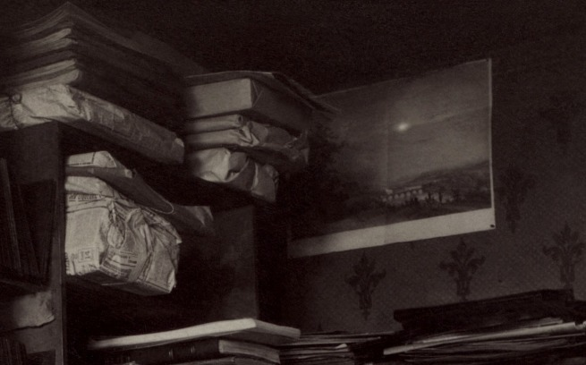 Eugène Atget (French, Libourne 1857–1927 Paris) 'Untitled [Atget's Work Room with Contact Printing Frames]' c. 1910 (detail)