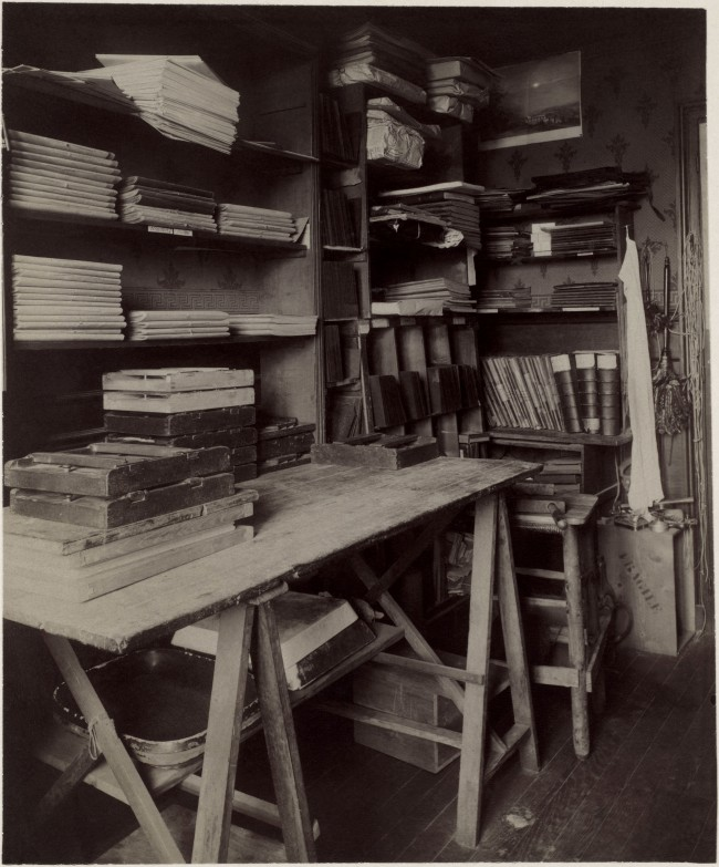 Eugène Atget (French, Libourne 1857-1927 Paris) 'Untitled [Atget's Work Room with Contact Printing Frames]' c. 1910