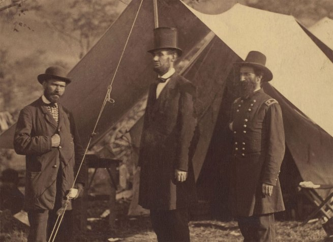Alexander Gardner (American, Glasgow, Scotland 1821-1882 Washington, D.C.;) '[President Abraham Lincoln, Major General John A. McClernand (right), and E. J. Allen (Allan Pinkerton, left), Chief of the Secret Service of the United States, at Secret Service Department, Headquarters Army of the Potomac, near Antietam, Maryland]' (detail) October 4, 1862