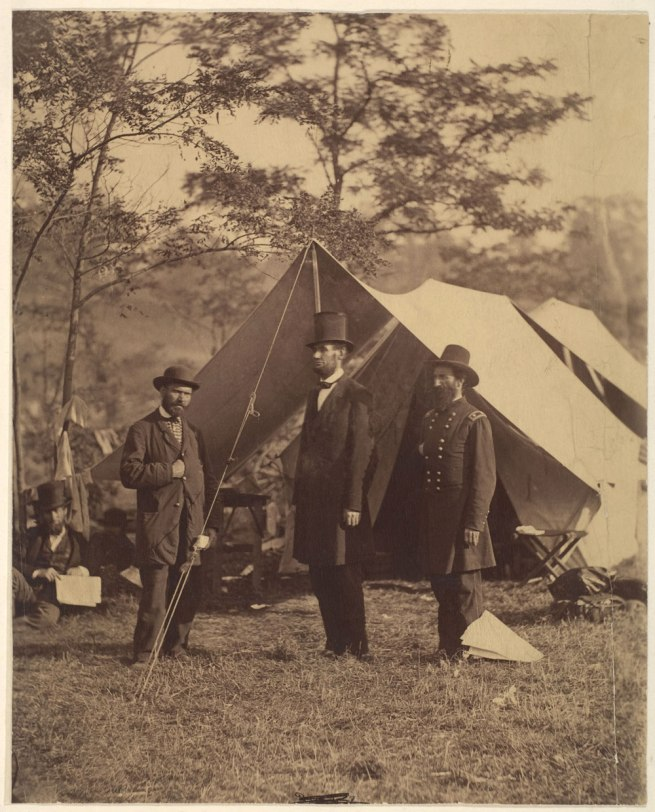 Alexander Gardner (American, Glasgow, Scotland 1821-1882 Washington, D.C.;) '[President Abraham Lincoln, Major General John A. McClernand (right), and E. J. Allen (Allan Pinkerton, left), Chief of the Secret Service of the United States, at Secret Service Department, Headquarters Army of the Potomac, near Antietam, Maryland]' October 4, 1862