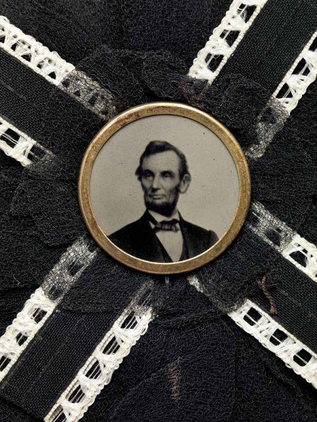 Maker: Unknown, American; Photography Studio: After, Brady & Co., American, active 1840s–1880s '[Mourning Corsage with Portrait of Abraham Lincoln]' (detail) Photograph, corsage April 1865