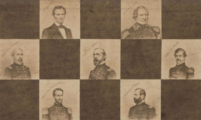 Maker: Unknown '[Game Board with Portraits of President Abraham Lincoln and Union Generals]' (detail) 1862
