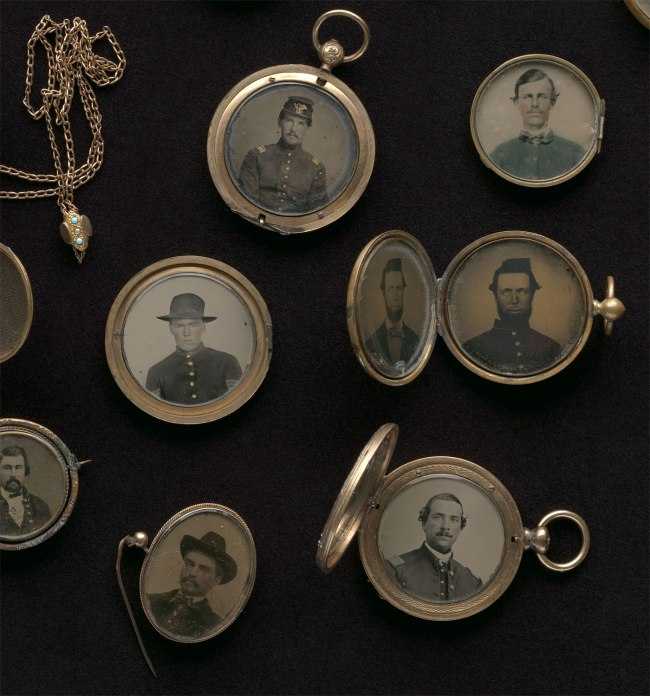 Maker: Unknown '[Civil War Portrait Lockets]' (detail) 1860s