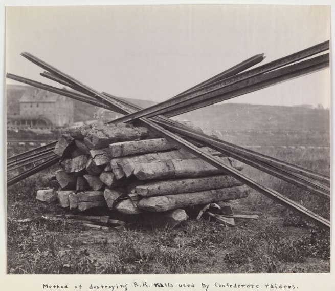Andrew Joseph Russell (American, 1830-1902) 'Confederate Method of Destroying Rail Roads at McCloud Mill, Virginia' 1863