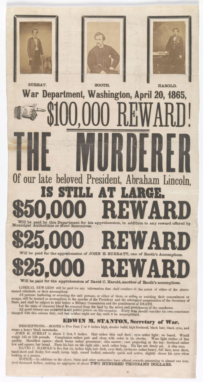 Unknown (American) '[Broadside for the Capture of John Wilkes Booth, John Surratt, and David Herold]' 1865
