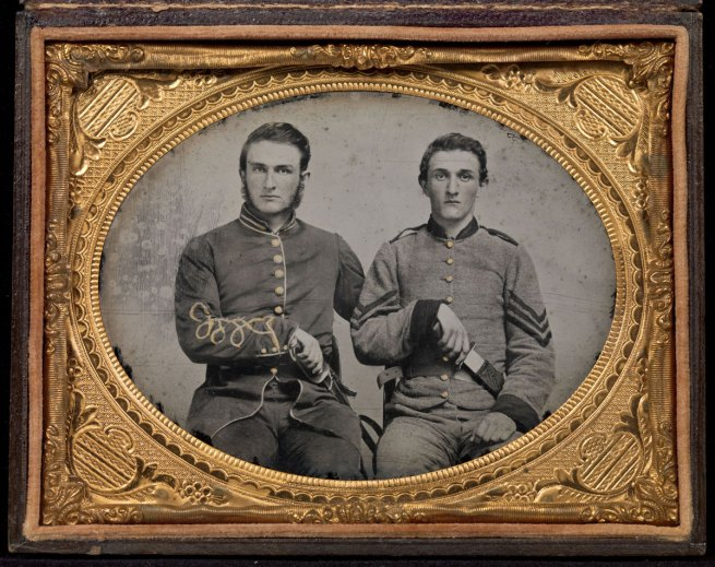 "Unknown Artist. 'Captain Charles A. and Sergeant John M. Hawkins, Company E, ""Tom Cobb Infantry,"" Thirty-eighth Regiment, Georgia Volunteer Infantry' 1861-62"