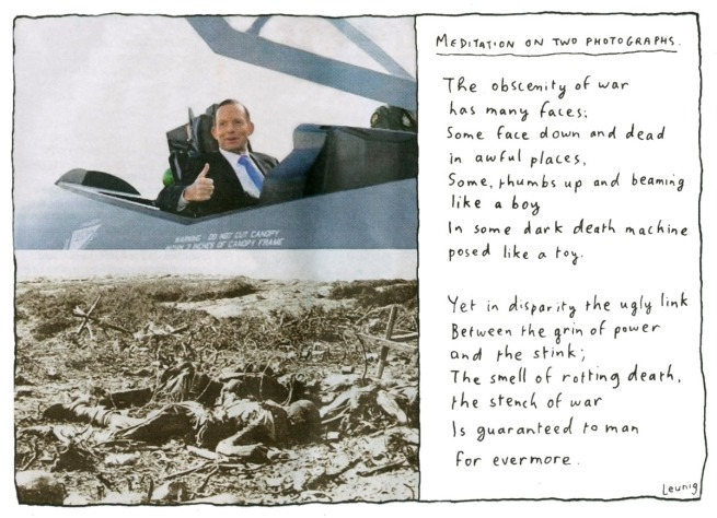 Michael Leunig. 'Meditation on two photographs' 2014