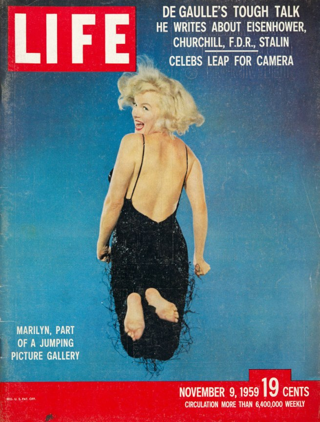 Cover of the magazine Life with a portrait of Marilyn Monroe jumping by Philippe Halsman, November 9, 1959