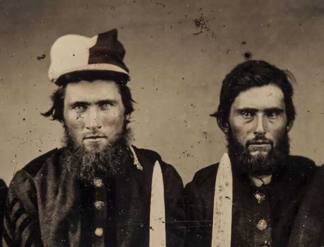 "Unknown '[The Pattillo Brothers (Benjamin, George, James, and John), Company K, ""Henry Volunteers,"" Twenty-second Regiment, Georgia Volunteer Infantry]' (detail) 1861-63"