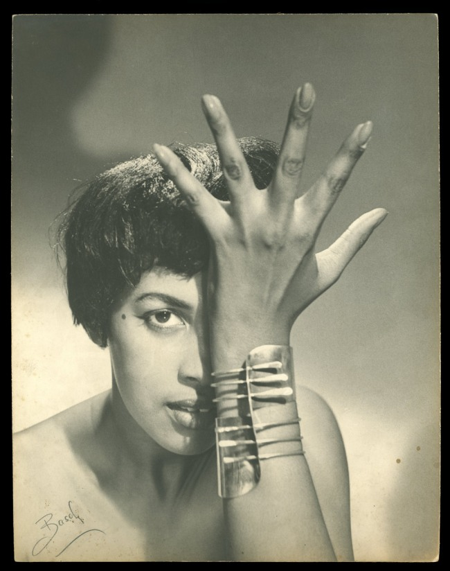 "Peter Basch. 'Model Wearing Art Smith's ""Modern Cuff"" Bracelet' c. 1948"