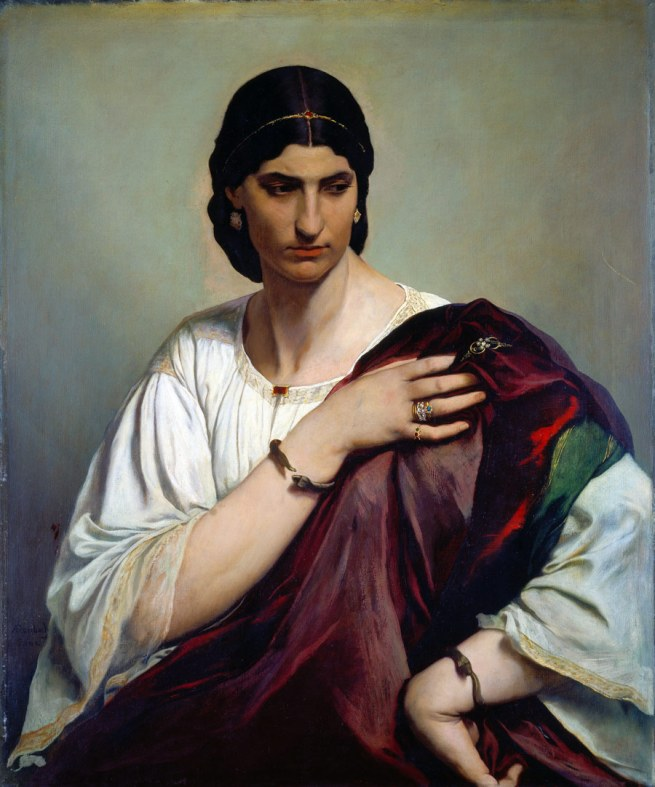 Anselm Feuerbach. 'Lucrezia Borgia, Bildnis einer Römerin in weißer Tunika und rotem Mantel [Lucrezia Borgia, Portrait of a roman in white tunic and red cloak]' 1864/65