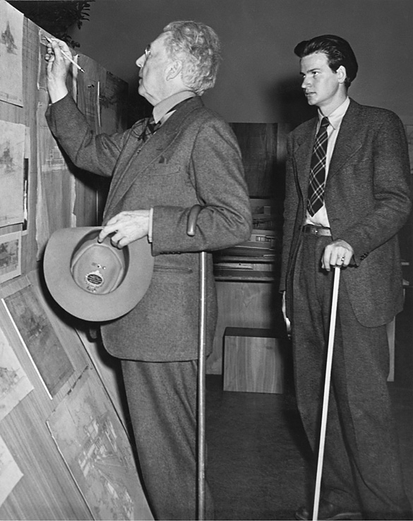 Frank Lloyd Wright and his assistant Eugene Masselink installing the exhibition Frank Lloyd Wright: American Architect at The Museum of Modern Art, November 13, 1940-January 5, 1941