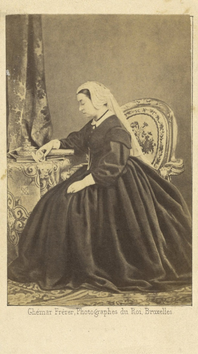 Ghémar Frères. 'Portrait of Queen Victoria Seated, Gazing at a Photograph of Prince Albert' about 1862