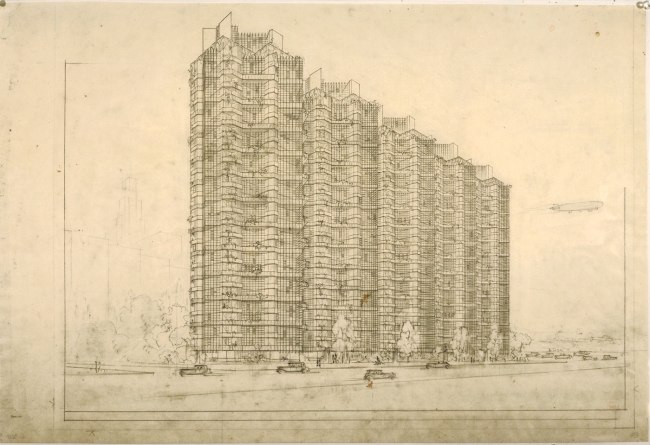 Frank Lloyd Wright (American, 1867-1959) 'Grouped Towers, Chicago Project' 1930