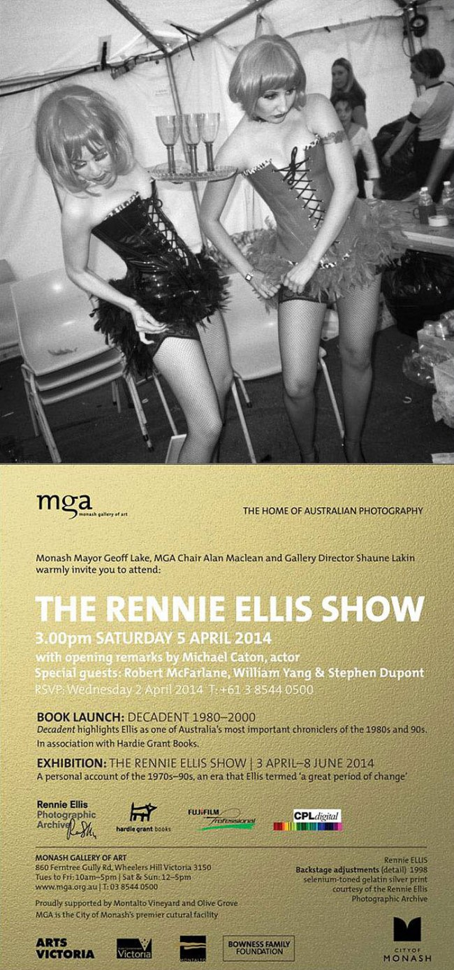 Invitation to The Rennie Ellis Show at the Monash Gallery of Art