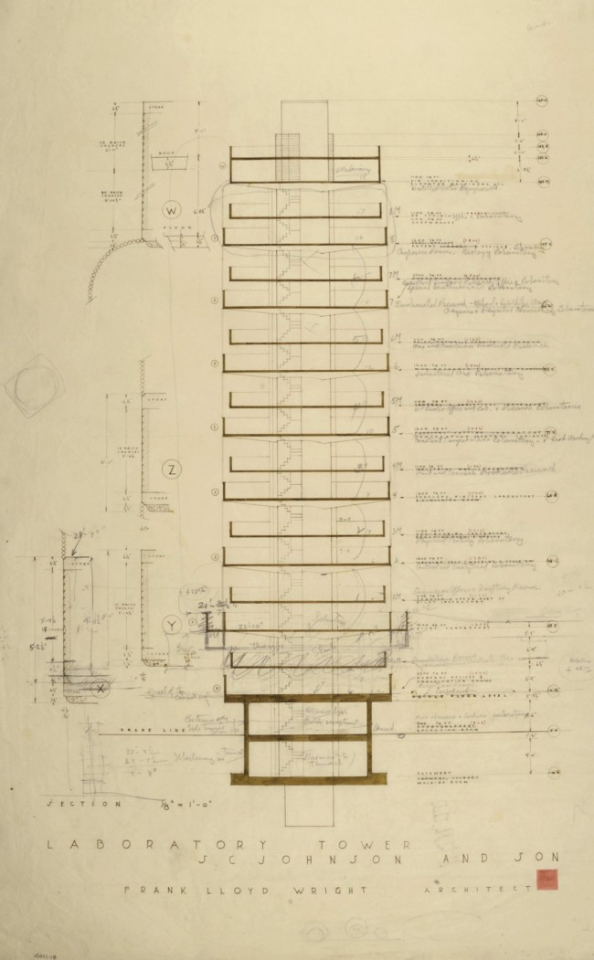 Frank Lloyd Wright (American, 1867-1959) 'S.C. Johnson & Son Inc. Research Laboratory Tower, Racine, Wisconsin' 1943-50