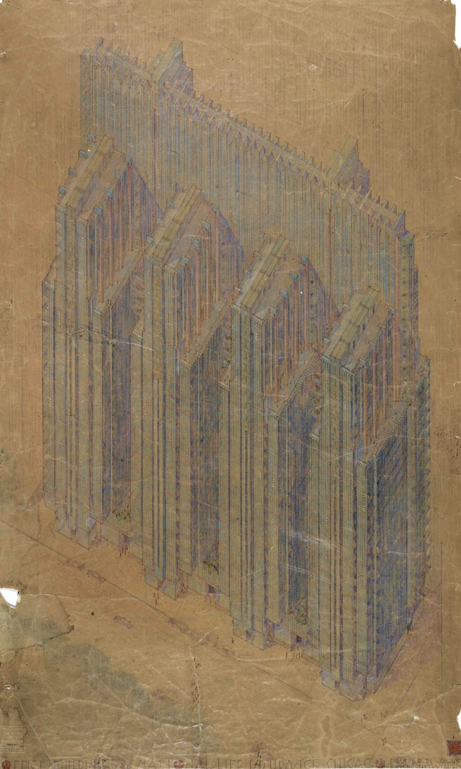 Frank Lloyd Wright (American, 1867-1959) 'National Life Insurance Company Building, Chicago Project' 1924-25