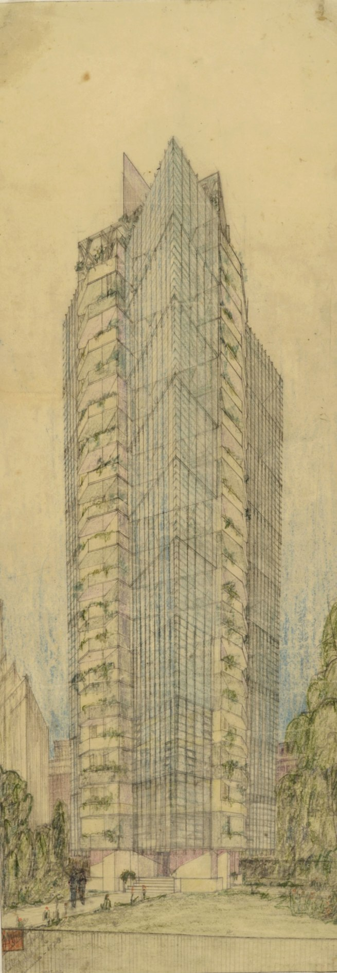 Frank Lloyd Wright (American, 1867-1959) 'St. Mark's-in-the-Bouwerie Tower, New York Project' 1927-31