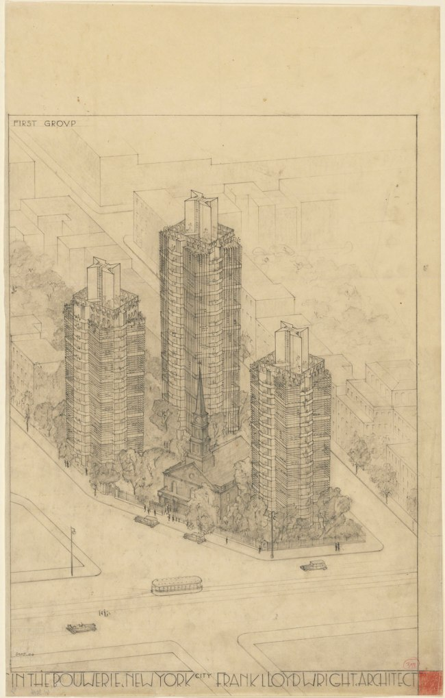 Frank Lloyd Wright (American, 1867-1959) 'St. Mark's-in-the-Bouwerie Towers, New York Project' 1927-31