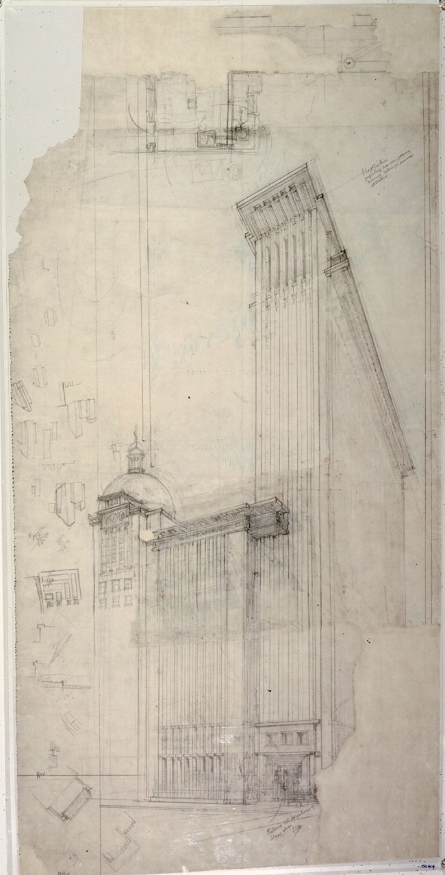 Frank Lloyd Wright (American, 1867-1959) 'The San Francisco Call Building Project' 1913