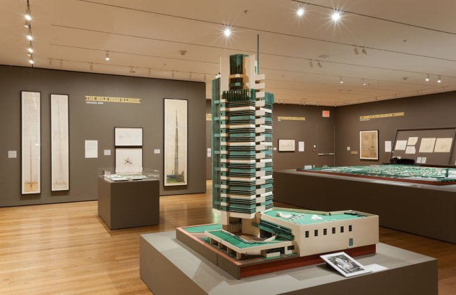 Installation view of the exhibition 'Frank Lloyd Wright and the City: Density vs. Dispersal' at MoMA
