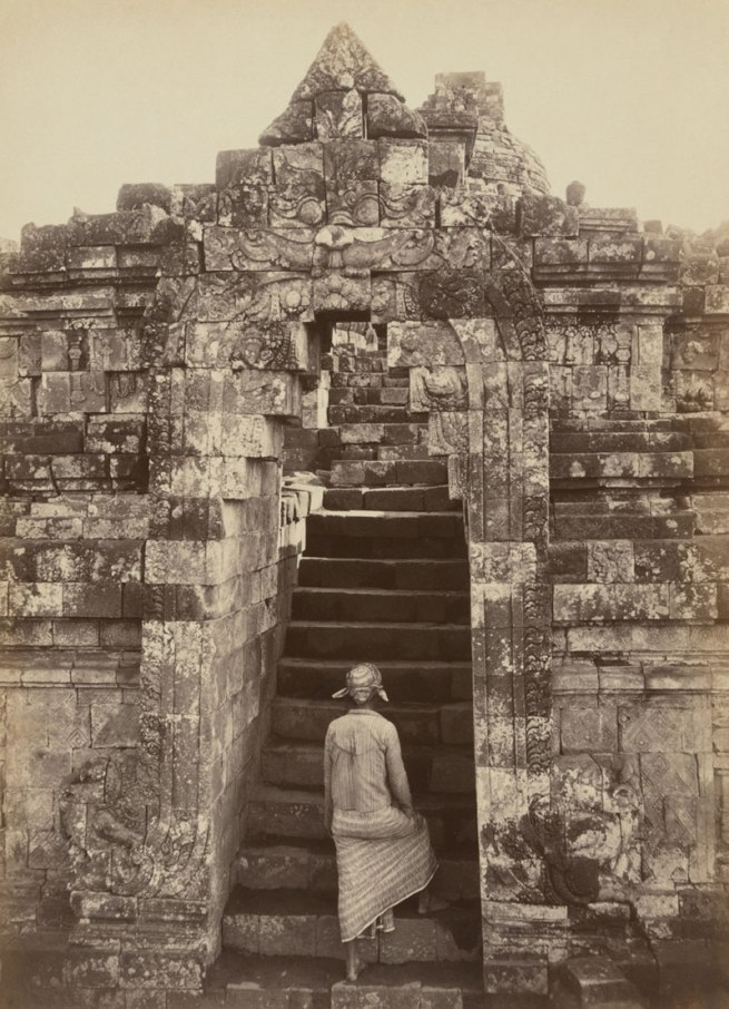 Kassian Céphas Indonesia 1845-1912 'Man climbing the front entrance to Borobudur' Central Java 1872