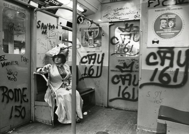 Bill Cunningham. 'Editta Sherman on the Train to the Brooklyn Botanic Garden' c. 1972