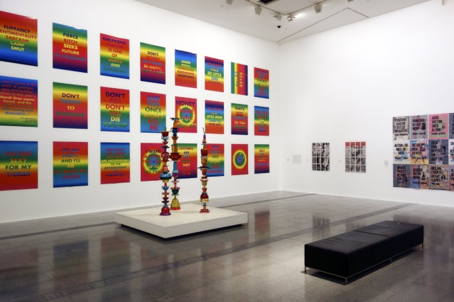 Installation photograph of the last room showing, at left on the wall, work from the 'Rainbow Aphorisms' series 1994 with in front 'Totem works' 1992-95