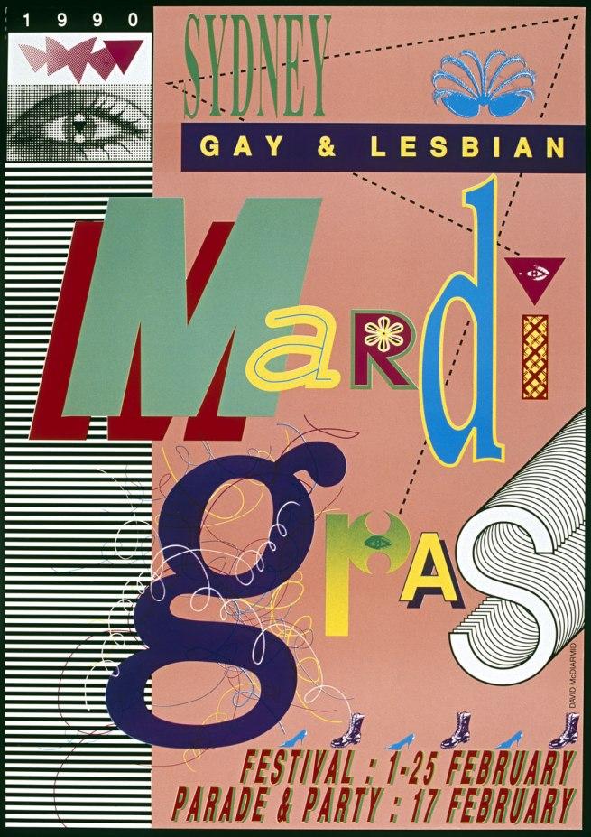 David McDiarmid. 'Sydney Gay and Lesbian Mardi Gras, poster' 1989-90
