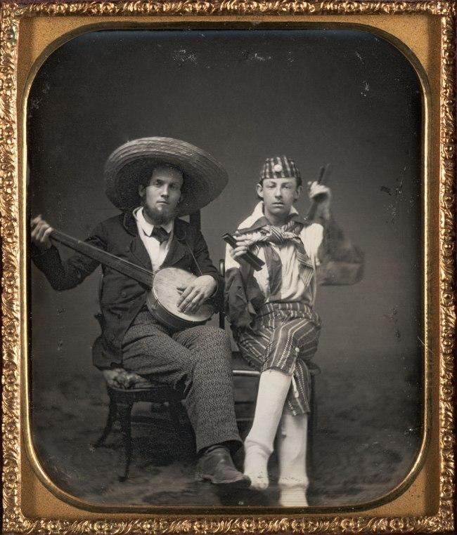 Unknown. 'Traveling Minstrels - banjo and bones' c. 1850