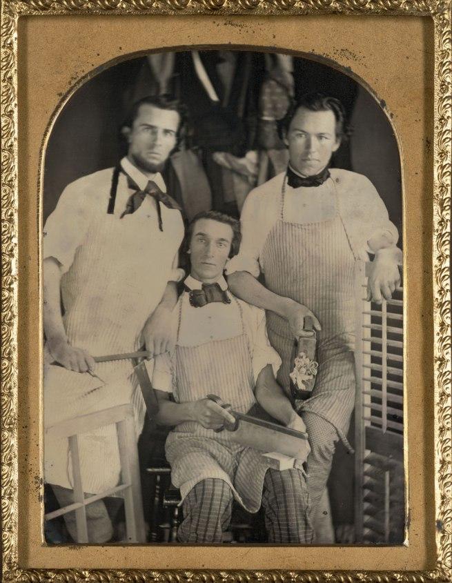 Unknown. 'Three carpenters in their workshop' c. 1848-1850