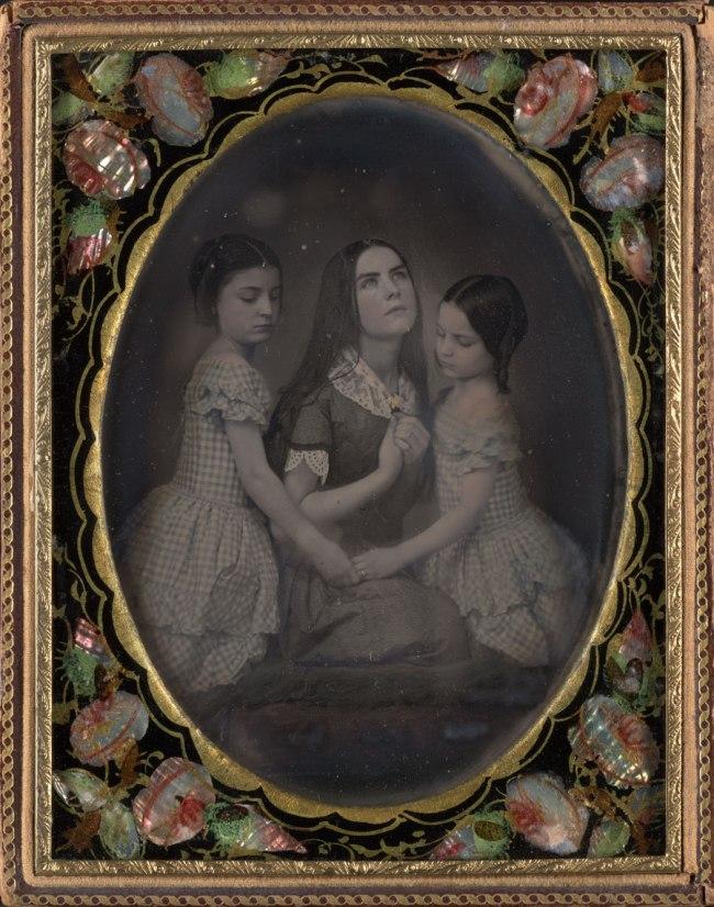 Unknown. 'Portrait of Three Girls' c. 1850s