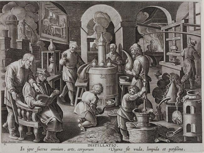"""Theodor Galle nach Jan van der Straet (Stradanus). 'Destillierlabor' (from the series """"Nova reperta"""") c. 1589 - c. 1593"""