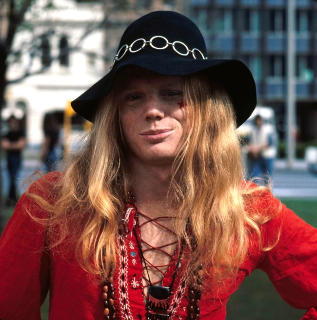 Anonymous. 'Man in black hat and red shirt, Gay Pride Week' Adelaide, 1973